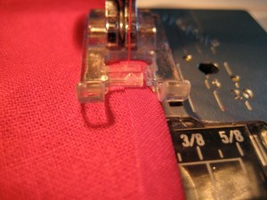 Sew, just inside the edge of the Bias Tape.
