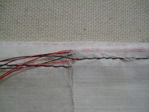 The size of a Hairline Seam (right) compared to a normal French Seam (left).
