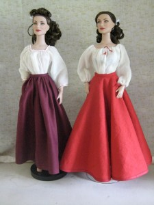 comparison, gored and circle skirts, front