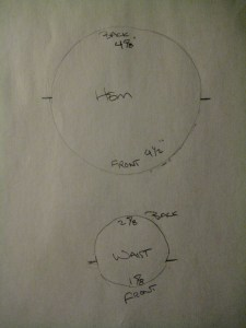 tracings from the hem and waist of the Alcega mockup