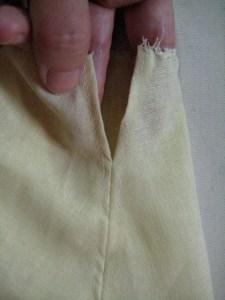 detail of waist opening
