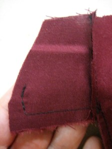 detail of pocket seam