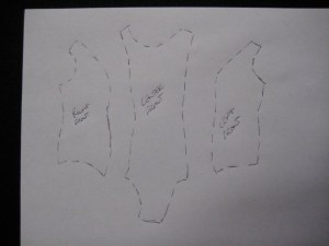 torso pieces traced onto paper