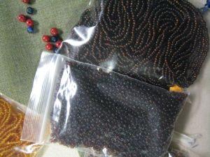 two colors of dark brown bead