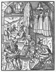 Woodcut showing a furrier supporting his sewing on his knee