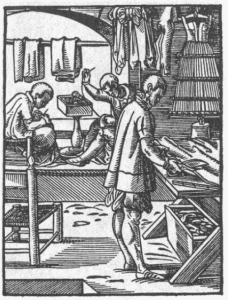woodcut showing tailors sitting tailor-style