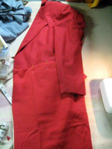 flaps sewn and pinned into place