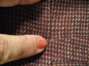right angle in seam of jacket