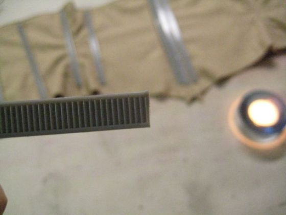 The cut edge of plastic boning has sharp corners