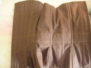inside of corset showing stitching lines