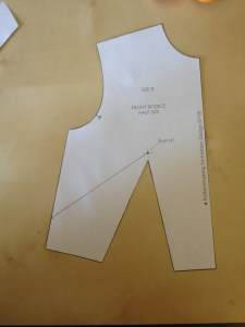 Cut out the sloper, including the center of the dart.