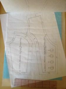 The front vest pattern pieces...