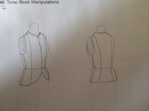 The target sketch - we settled on a simple princess line that ends at the hip.  The armscyes have been lowered, the shoulders narrowed at the outside, and the neckline dropped slightly.  It closes at the center front with a zip.