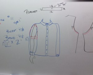 Here are our class notes, with the new sleeve shape (red) as well as the information on the size of the lower band and the placket.