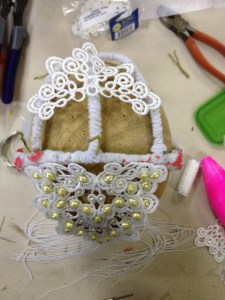 I've also made a back lace bit for the headdress.  My plan is to connect the two with some crochet chains.