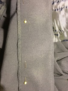 Hem pinned horizontally.