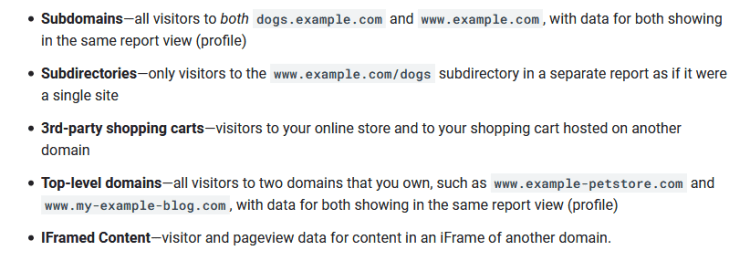 Cross-domain tracking for sub-domains
