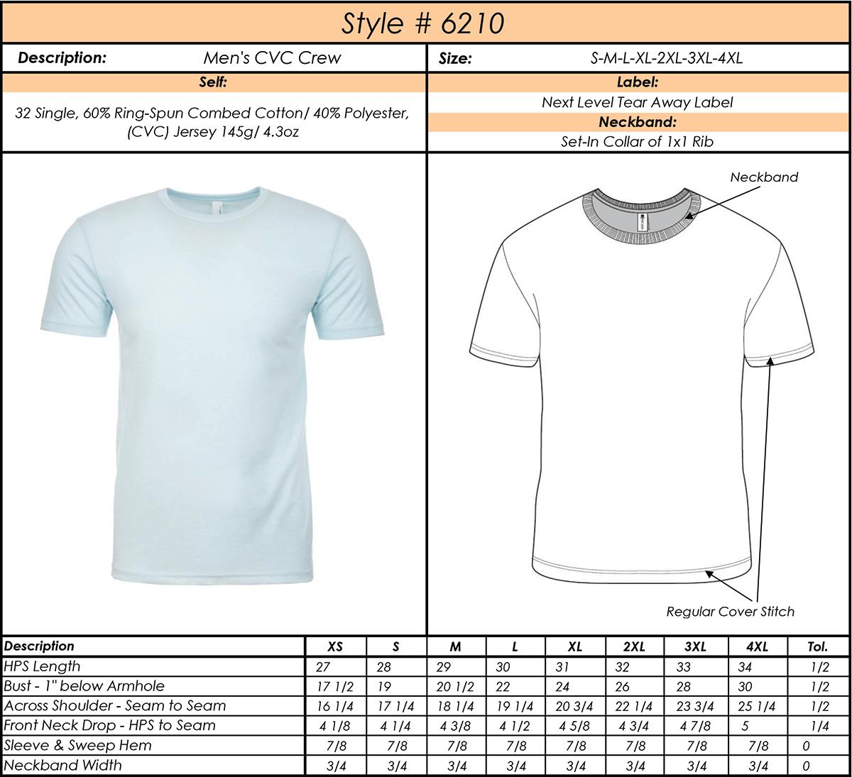 Mens T Shirt Size Measurements