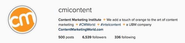 Instagram for business: ottima descrizione bio da Content Marketing Institute