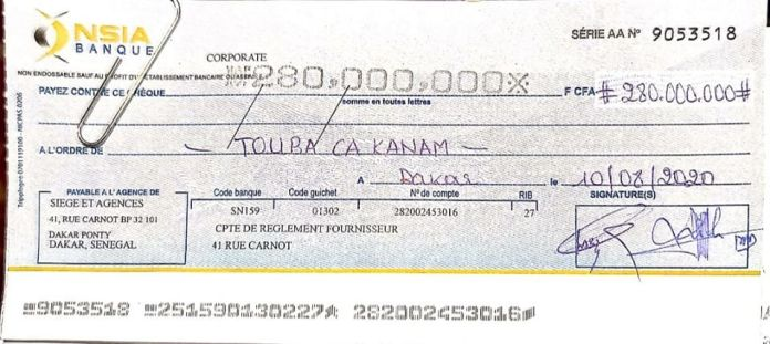 Comme promis Tahirou Sarr a remis 280.000.000 Fcfa à