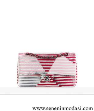 Chanel stripe sequin flap bag