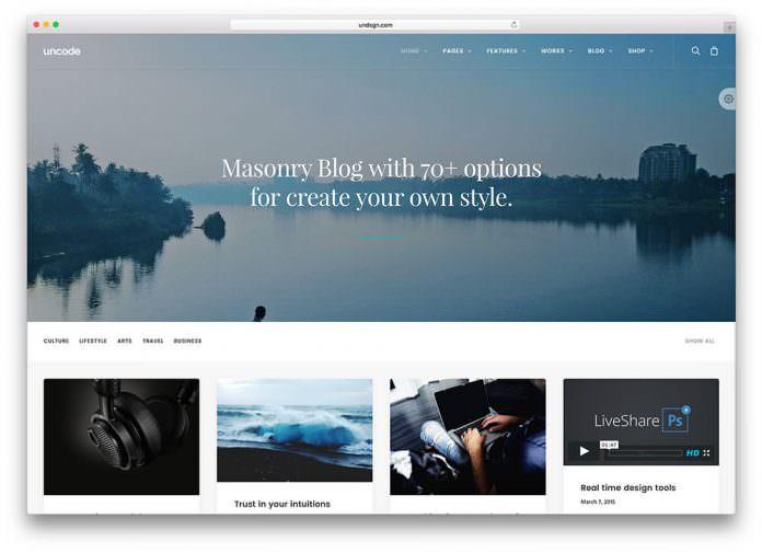 uncode - theme wordpress terbaik untuk personal blogger