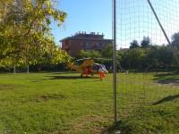 L'eliambulanza al Bocciodromo di via Rovereto a Senigallia