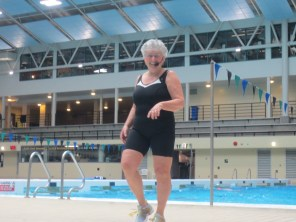Elaine Kilpatrick teaches aquafit classes at Commonwealth pool.