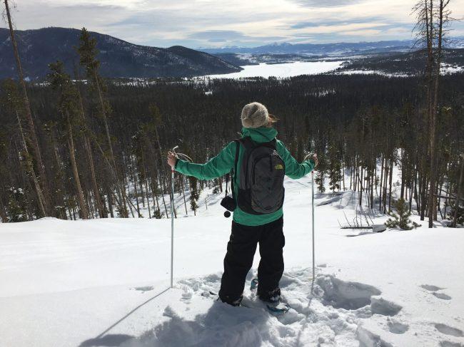 Snowshoeing, overlooking Grand Lake