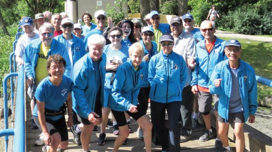 (Front row, left to right) Founders of the Forever Young 8km Event and Club: Joan Young, John Young, Gwen McFarlan and Forever Young fans