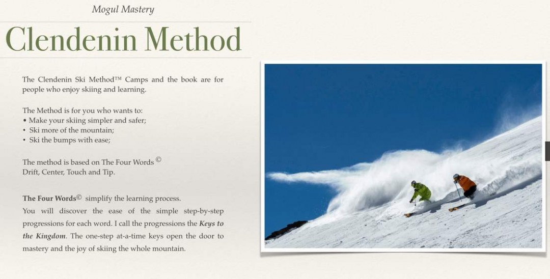 Clendenin Method offers a way for seniors to ski smoothly and comfortably. Credit: ClendeninMethod.com