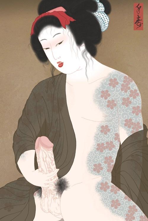 kabuki, benten kozo, shunga, erotic, erotica, porn, irezumi, japanese tattoo, sakura, cherry blossom, masturbation, cock