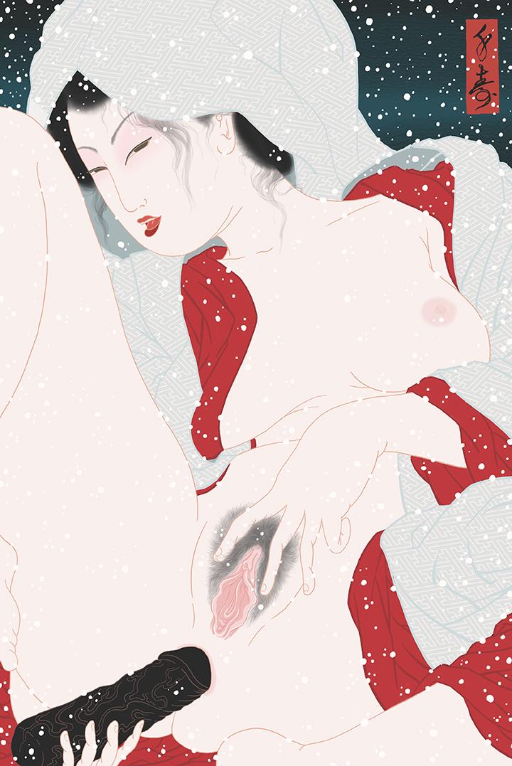 "Sagi Musume"" Shunga print"