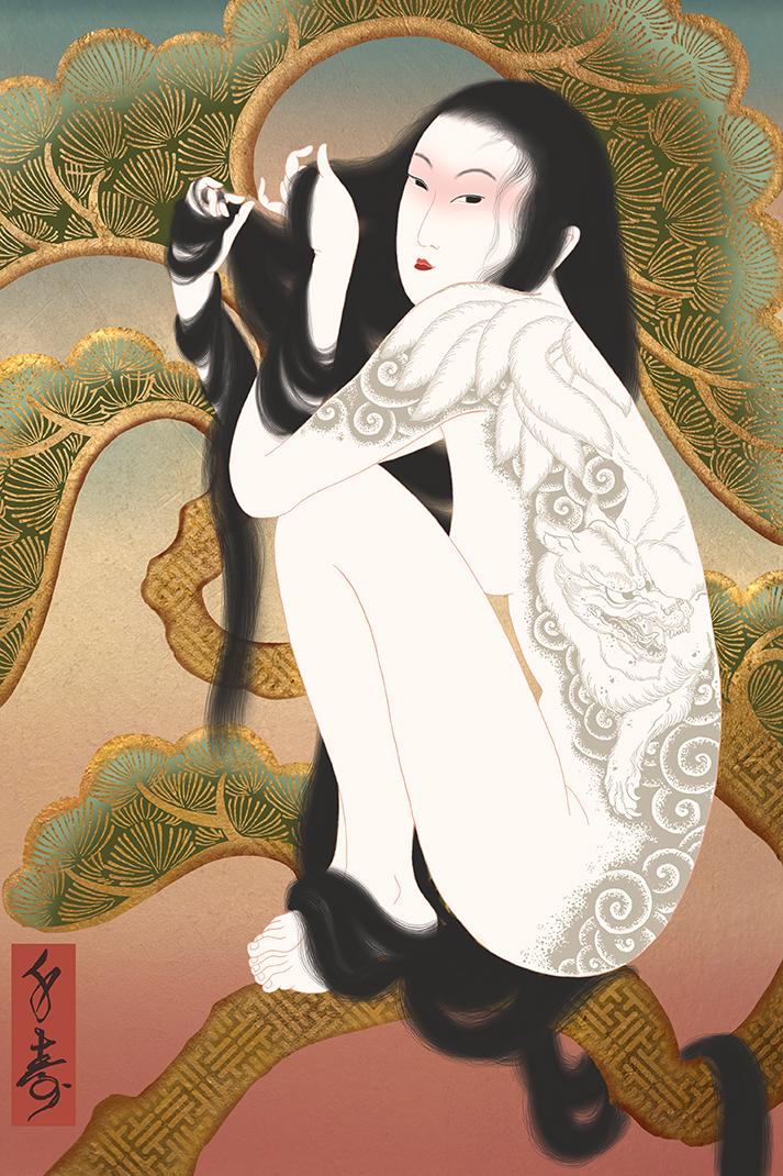 """""""Tenko"""" Shunga print"""