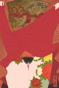 erotic shunga art by senju showing a woman tattooed with peony flowers