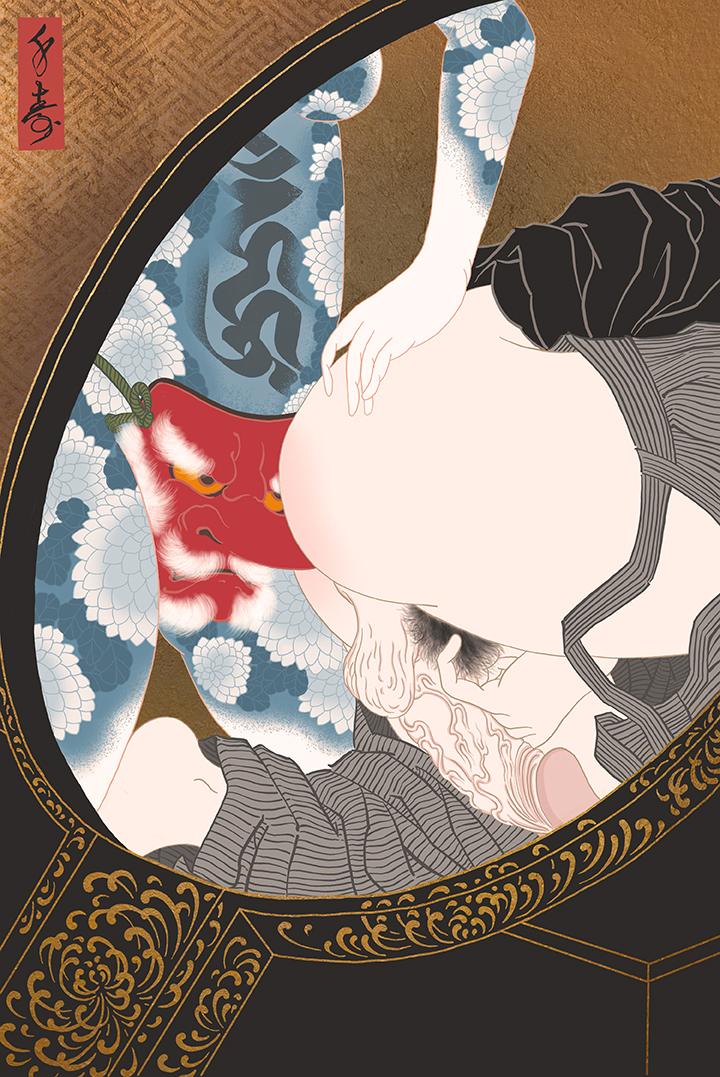 """Shinrei"" Shunga print"