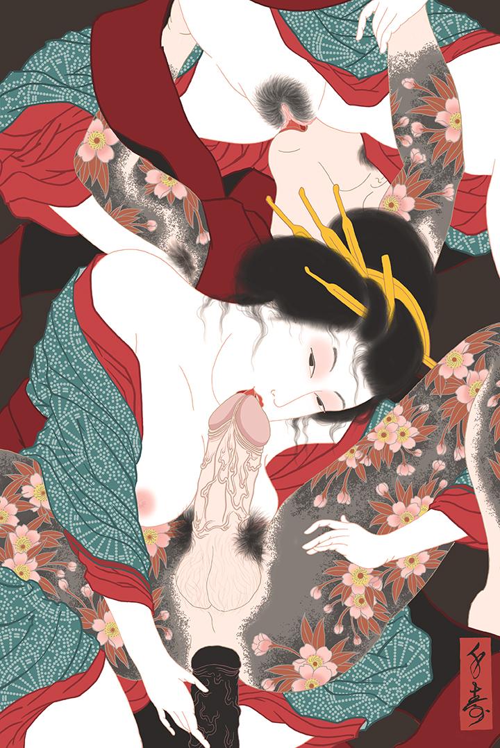 """""""San'ninkon (menage a trois)"""" Shunga print"""