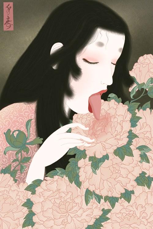shunga, erotic art, erotica, peony, heian, lesbian, tongue