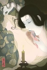 erotic art, shunga, pussylicking, lesbian, japanese ghost