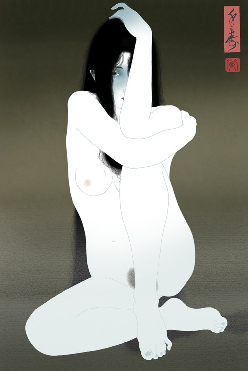 Painting of a sensual and strangely erotic young woman's ghost