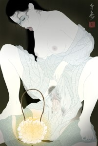 the ghost of a beautiful woman in an erotic shunga tableu