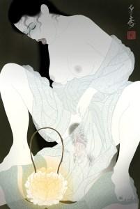 the ghost of a beautiful woman in an erotic shunga tableu