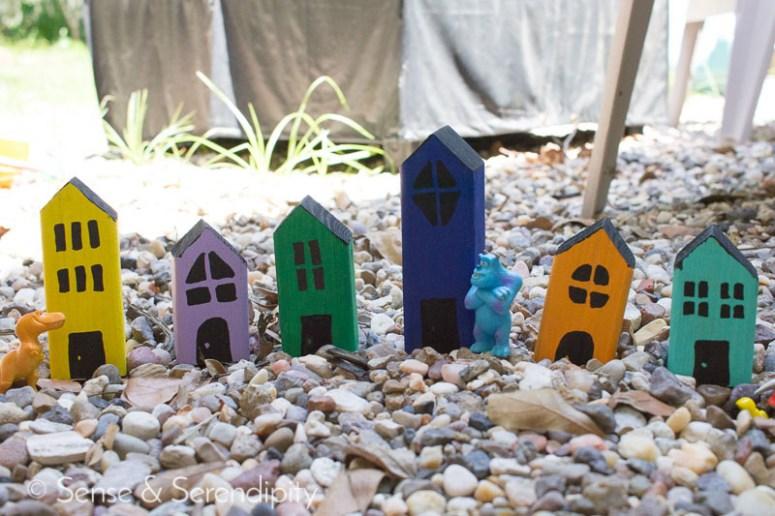 Sense & Serendipity   DIY Village Blocks, outdoor play, imagination, toddler crafts, DIY crafts, easy crafts, summer crafts
