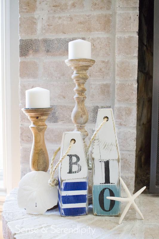 Sense & Serendipity | DIY Nautical Wood Buoys, nautical, summer decor, wood buoys, summer style, distressed buoys, nautical decor