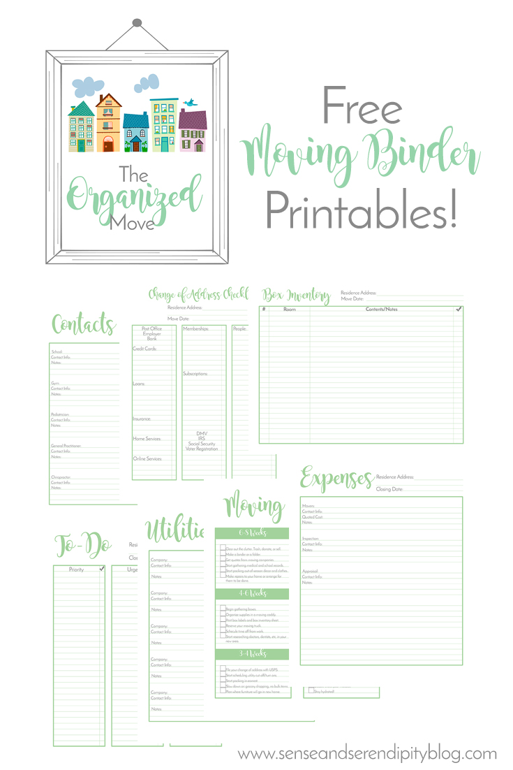 Sense & Serendipity | How to Prepare for a Move with Kids, moving binder, free printables, moving printables, moving tips, prepare for a move, moving