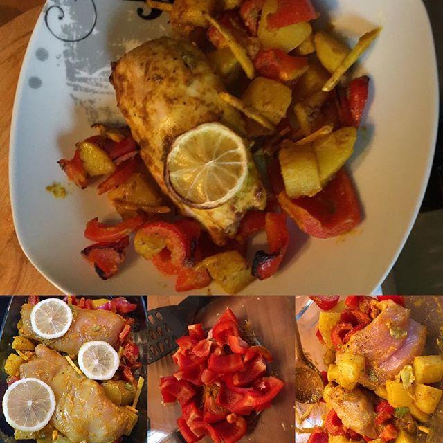"""Jamies Hähnchenbrust aus dem Ofen mit Zitronenkartoffeln """"Bombay"""" - langer Titel aber sehr lecker  #hellofresh <a rel="""