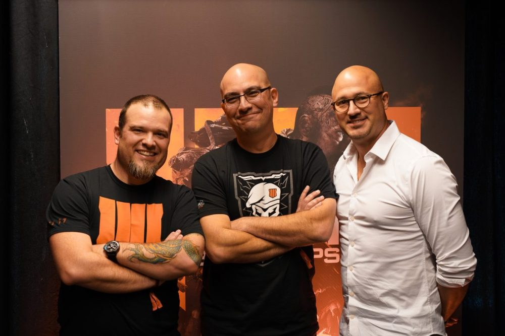 Thomas Wilson (Beenox), Jonathan Moses (Senior Prod Treyarch) och John Rafacz (Head of Comms)