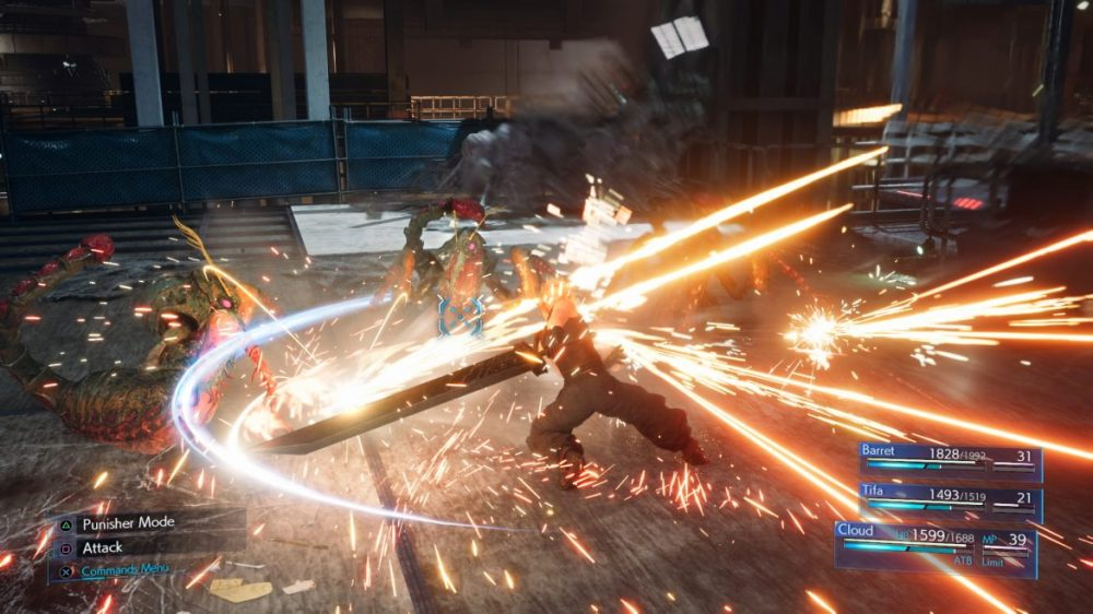 cloud strife fight final fantasy 7 remake ps4