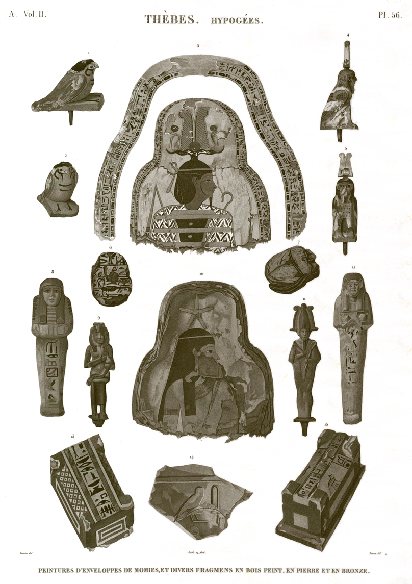 Pl. 56 - Paintings of mummy envelopes, and various fragments of painted wood, stone and bronze