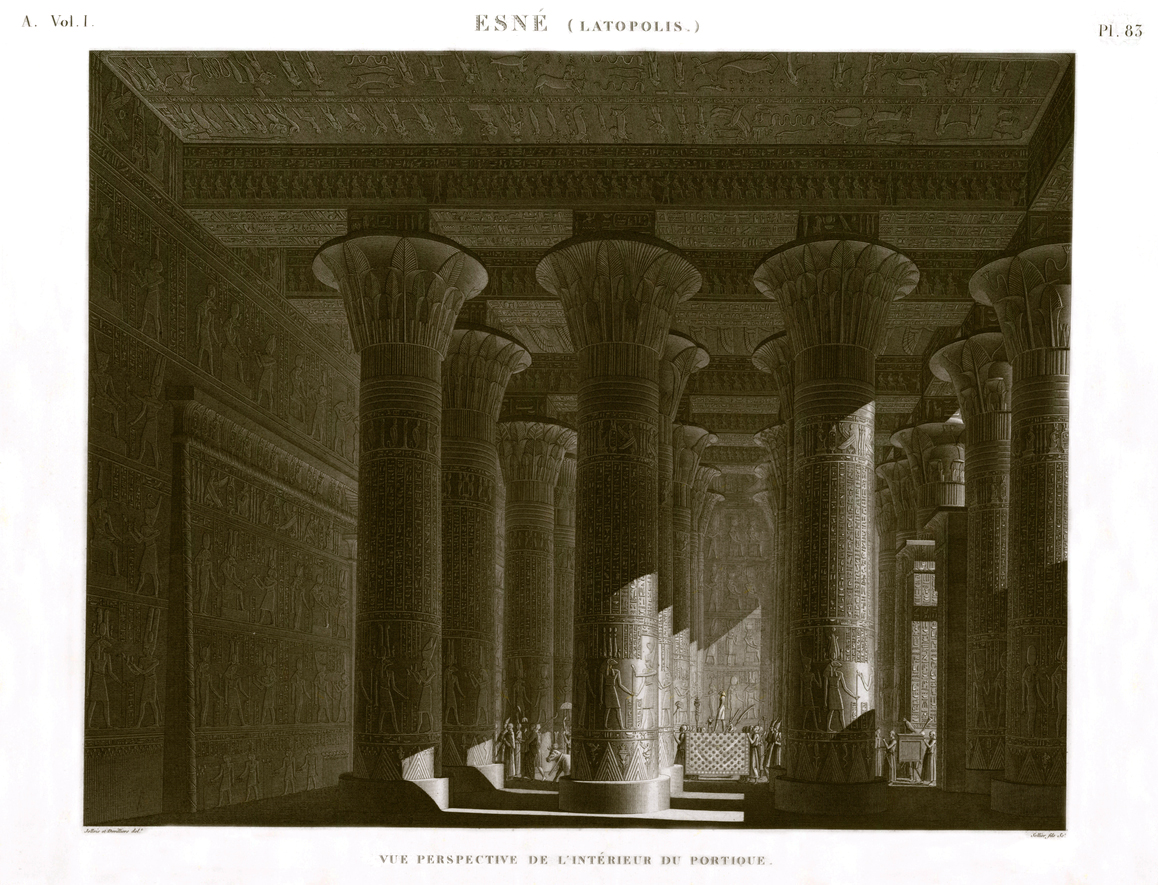 Esna perspective view portico temple egypt